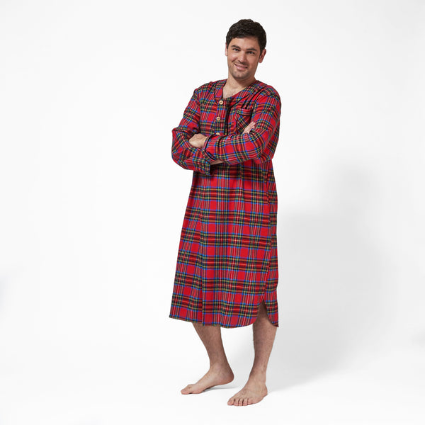 Rocky Mountain Flannel Men's Flannel Nightshirt in Royal Stewart Tartan with Black Braid Cord Front View