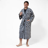 Kimono Flannel  Robe Large Buffalo Check Front View