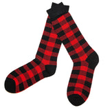 Merino Wool Socks in Buffalo Check in Red