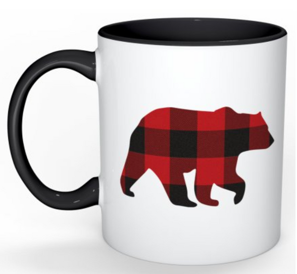 Mug in Red Black Buffalo Check / Bear
