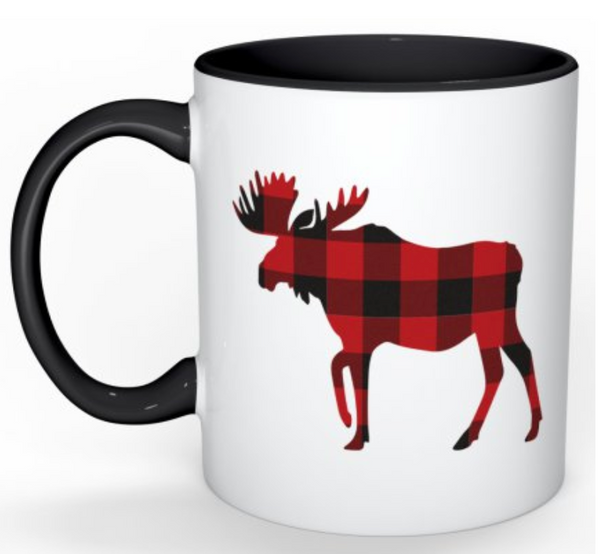 Buffalo Check Moose Mug