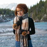 Oversized Scarf in Taupe & Black Check