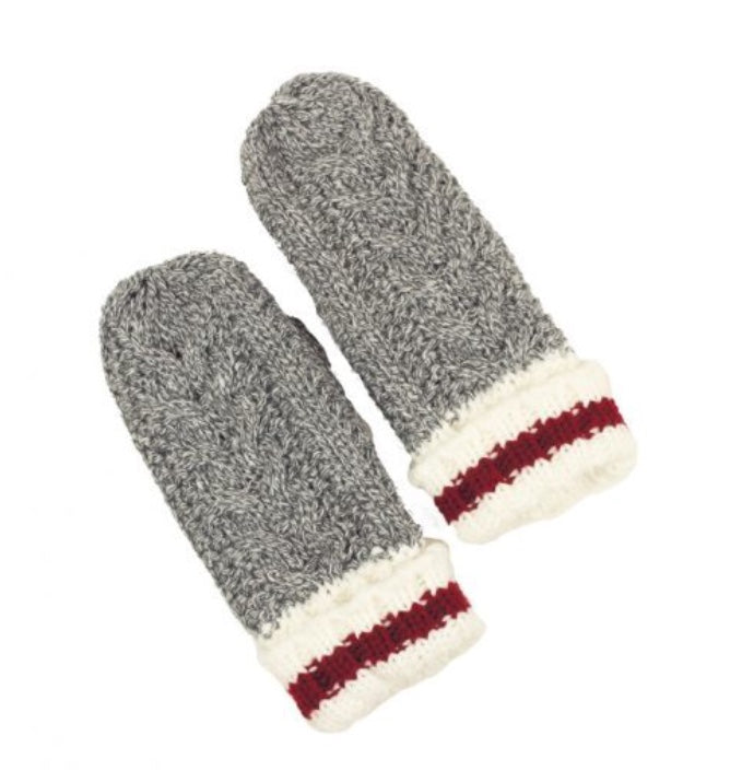 Kids Mixed Grey Work Mittens with Cable