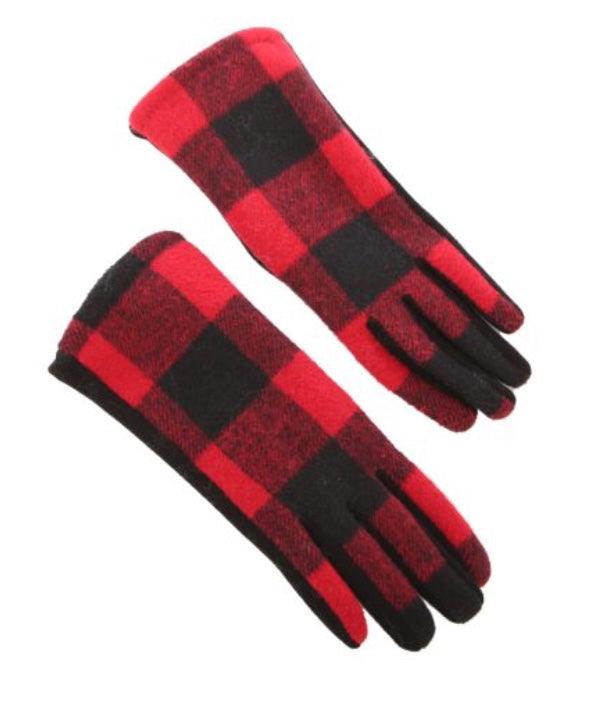 Ladies Winter Gloves in Red Buffalo Check
