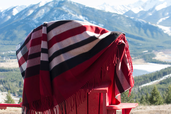 Blanket Throw in Red with Caramel and Black Stripes