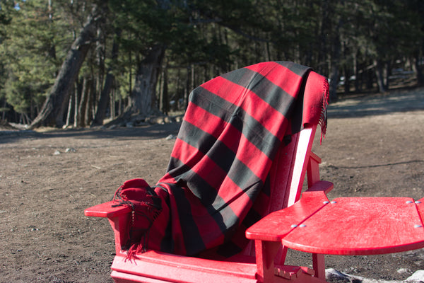 Blanket Throw in Black/Red Stripe