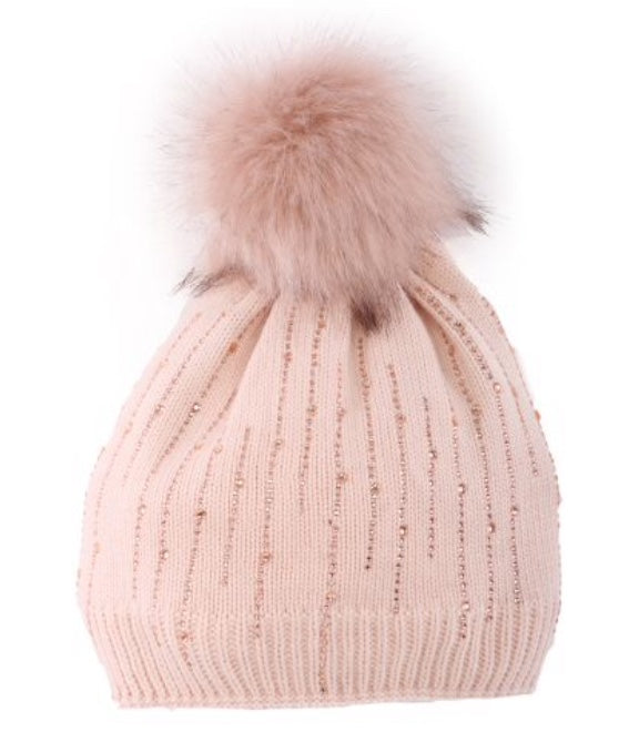 Embellished Pompom Toque with lining in Blush Pink