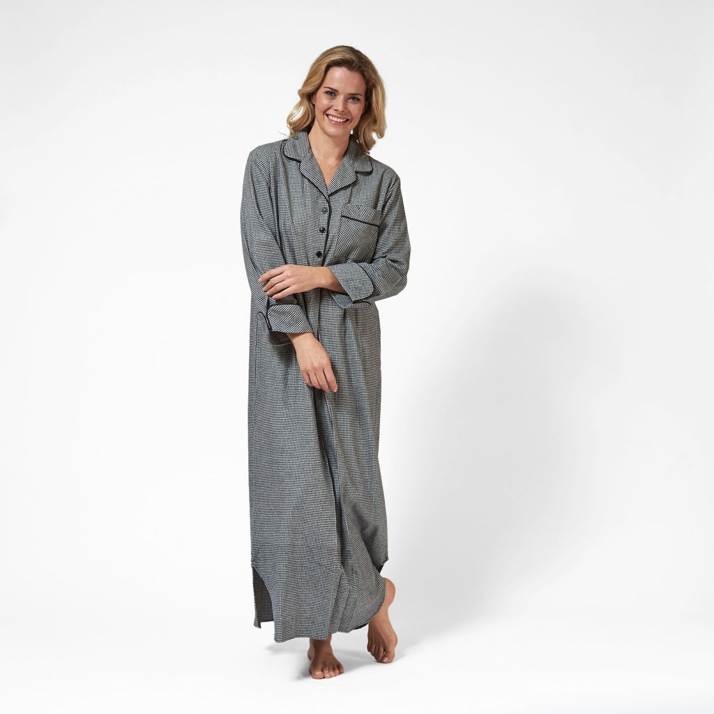 Rocky Mountain Flannel Long Flannel Nightshirt with Black Braid Cord in Houndstooth Front View