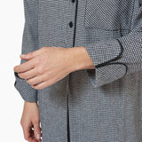 Rocky Mountain Flannel Long Flannel Nightshirt with Black Braid Cord in Houndstooth Cuff Sleeve View