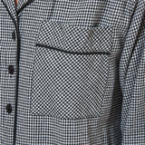 Rocky Mountain Flannel Long Flannel Nightshirt with Black Braid Cord in Houndstooth Pocket View