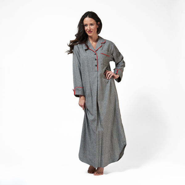 Rocky Mountain Flannel Long Flannel Nightshirt with Red Braid Cord in Houndstooth Front View