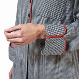 Rocky Mountain Flannel Long Flannel Nightshirt with Red Braid Cord in Houndstooth Cuff Sleeve View