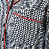 Rocky Mountain Flannel Long Flannel Nightshirt with Red Braid Cord in Houndstooth Pocket View