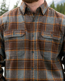 412 Grey and Brown Men's Flannel Shirt