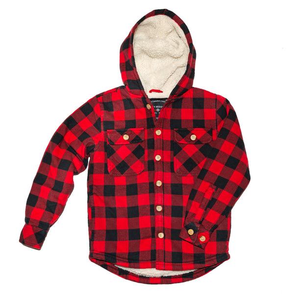 Kids Sherpa Jacket in Red Black