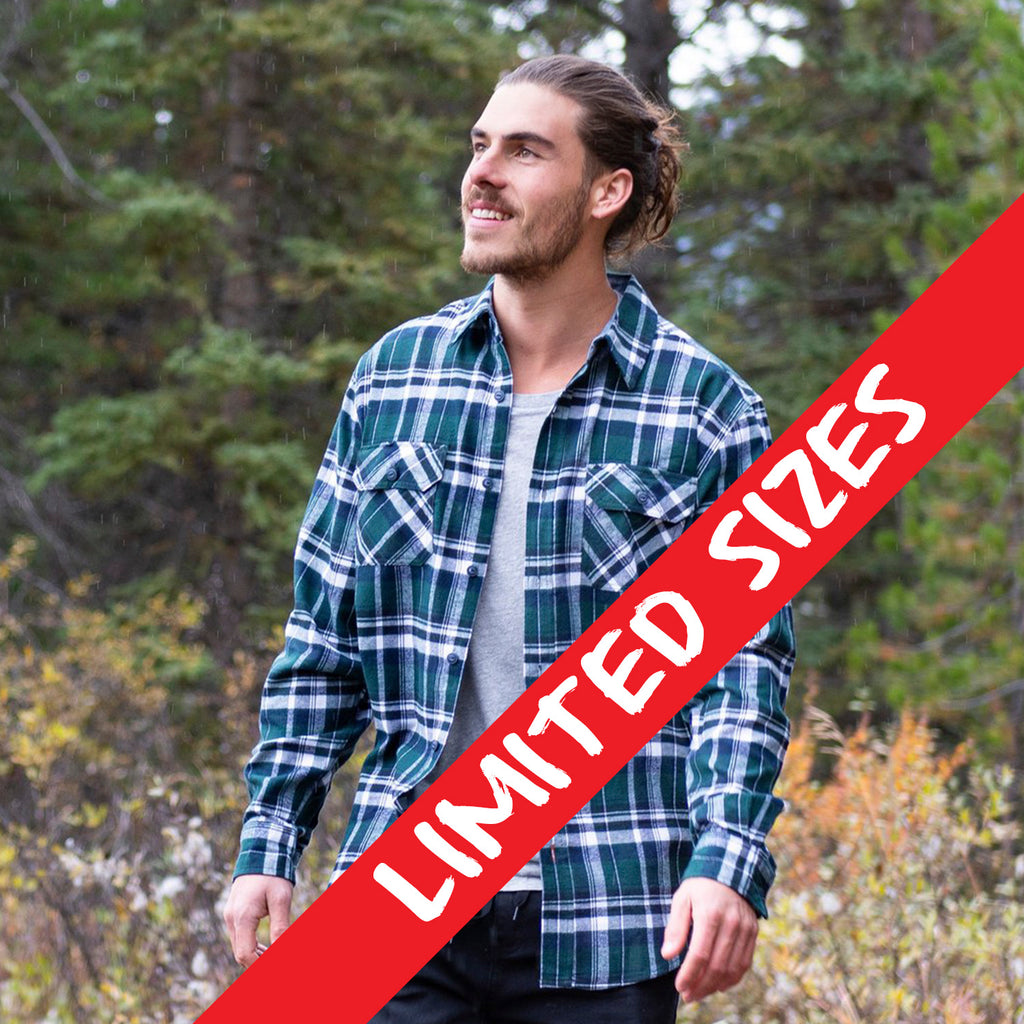 Men's Flannel Shirt in Forest Green