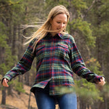 600 / Woman's Flannel Shirt in Green/Red Plaid