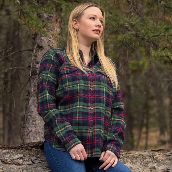 Ladies Flannel Shirt In Green Red Plaid Rocky Mountain