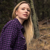 Ladies Flannel Shirt in Purple/Black Small Buffalo Check