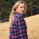 Ladies Flannel Shirt in Purple/Blue Plaid
