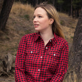 Ladies Flannel Shirt in Red/Black Small Buffalo Check