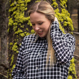 600 / Womans Flannel Shirt in Black/White Check