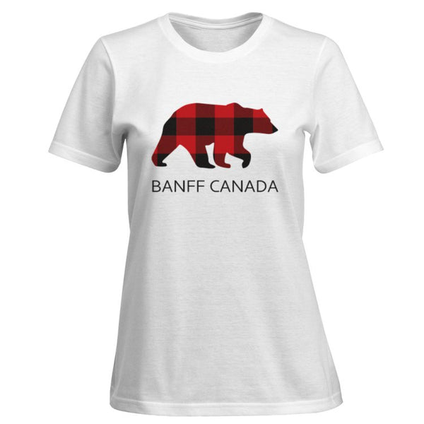 Ladies Red Bear T-Shirt With Banff Canada