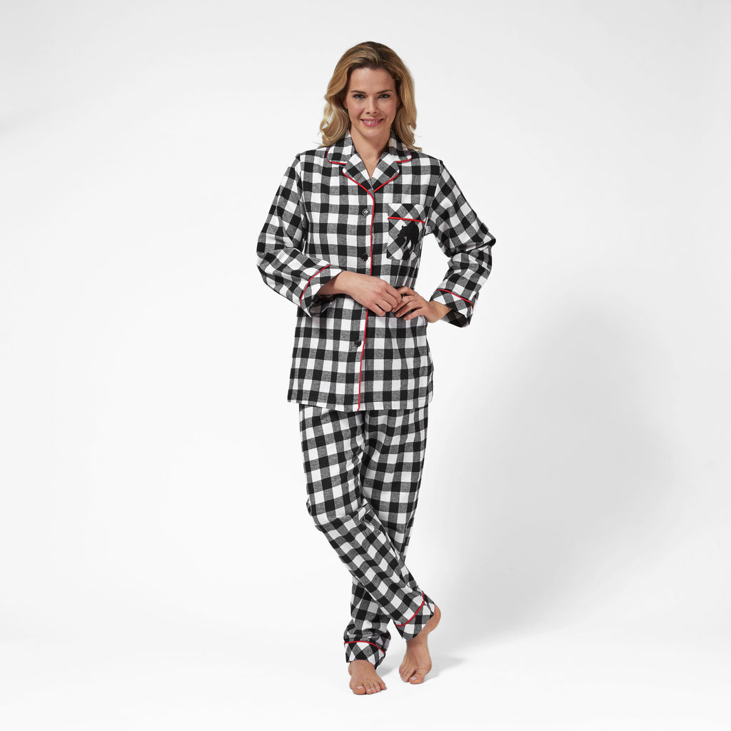 Rocky Mountain Flannel Classic 2 Pc Flannel Pyjamas with Bear Logo in Large Buffalo Check Front View