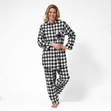 Rocky Mountain Flannel  Easy Fit 2 Pc. Flannel Pyjamas with Bear Logo in Large Buffalo Check Front View