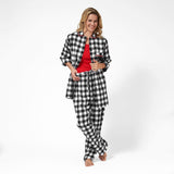 Rocky Mountain Flannel Easy Fit 2 Pc. Flannel Pyjamas with Bear Logo in Large Buffalo Check Front View Lounge