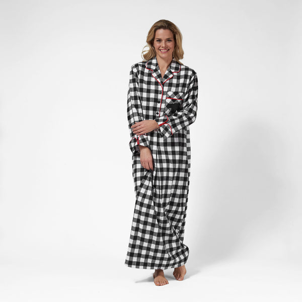 Rocky Mountain Flannel Long Flannel Nightshirt with Bear Logo in Large Buffalo Check Front View