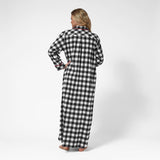 Rocky Mountain Flannel Long Flannel Nightshirt with Bear Logo in Large Buffalo Check Back View