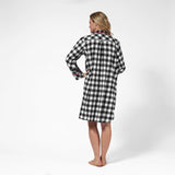 Rocky Mountain Flannel Knee-Length Flannel Nightshirt with Bear Logo in Large Buffalo Check Back View