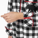 Rocky Mountain Flannel Knee-Length Flannel Nightshirt with Bear Logo in Large Buffalo Check Cuff Sleeve View