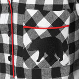 Rocky Mountain Flannel Knee-Length Flannel Nightshirt with Bear Logo in Large Buffalo Check Pocket View