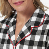 Rocky Mountain Flannel Knee-Length Flannel Nightshirt with Bear Logo in Large Buffalo Check Neckline View
