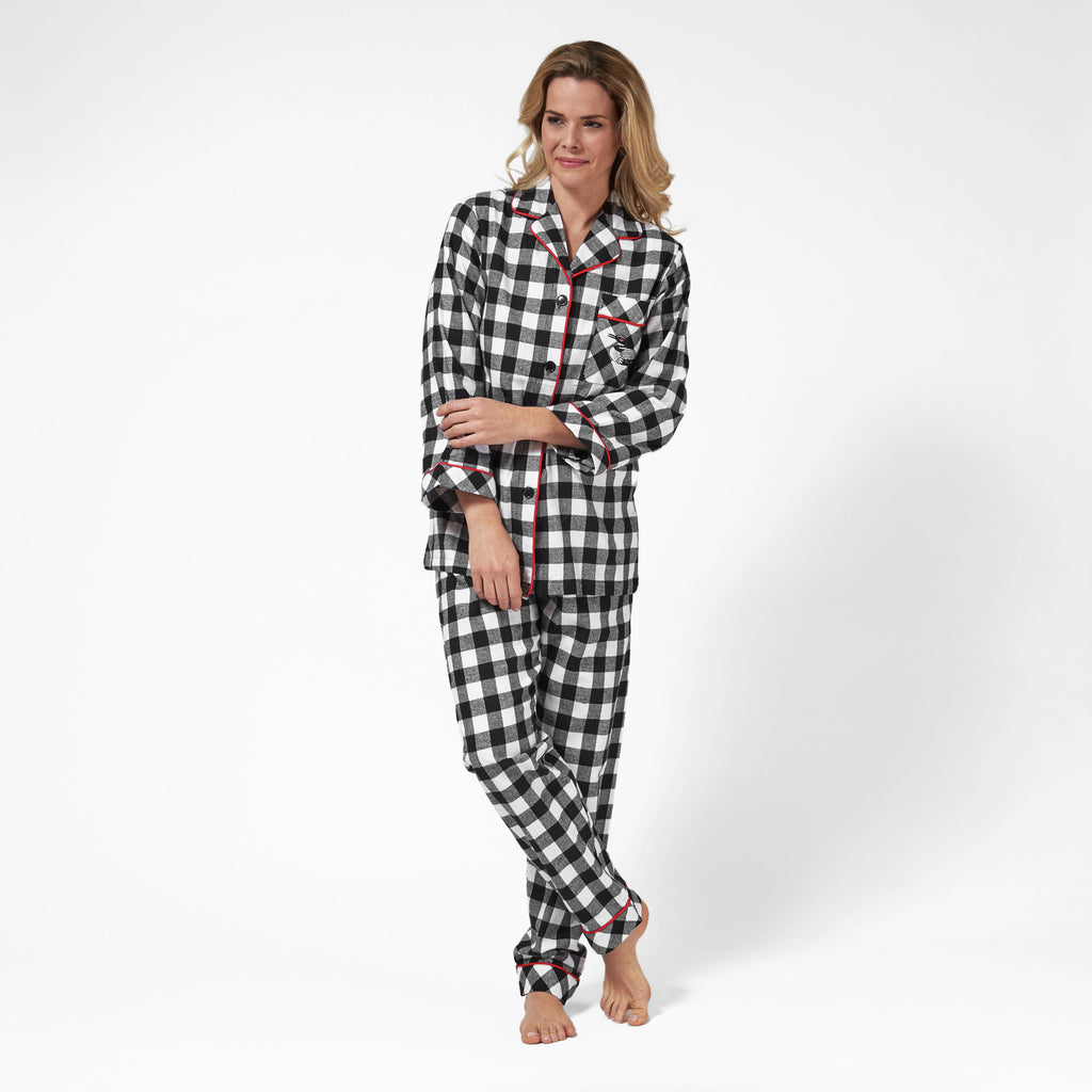 Rocky Mountain Flannel Classic 2 Pc Flannel Pyjamas with Loon Logo in Large Buffalo Check Front View