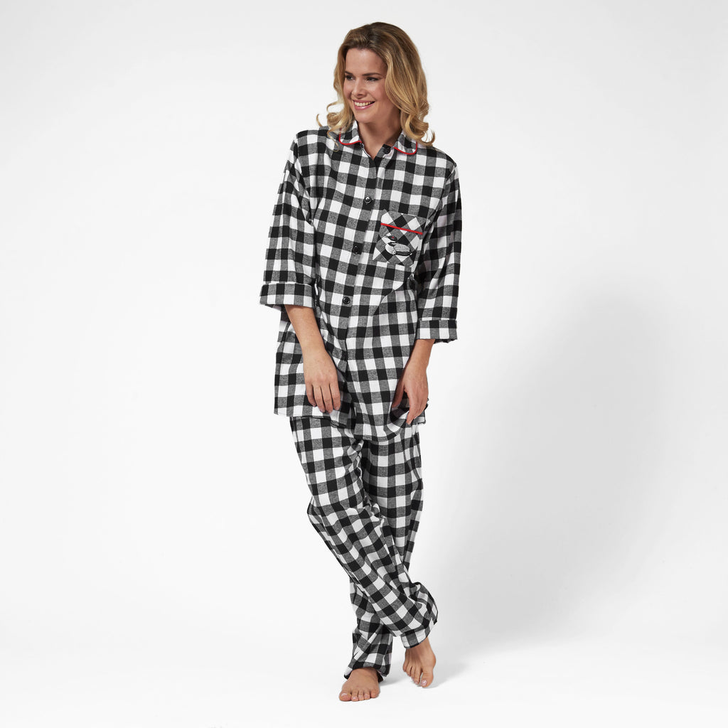Rocky Mountain Flannel Easy Fit 2 Pc. Flannel Pyjamas with Loon Logo in Large Buffalo Check Front View