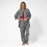 Rocky Mountain Flannel Easy Fit 2 Pc. Flannel Pyjamas with Loon Logo in Large Buffalo Check Front View Lounge