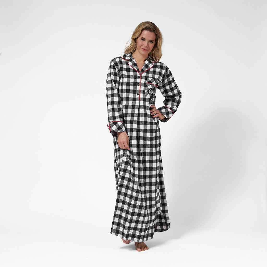 Rocky Mountain Flannel Long Flannel Nightshirt with Loon Logo in Large Buffalo Check Front View