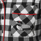 Rocky Mountain Flannel Long Flannel Nightshirt with Loon Logo in Large Buffalo Check Pocket View