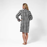 Rocky Mountain Flannel Knee-Length Flannel Nightshirt with Loon Logo in Large Buffalo Check Back View
