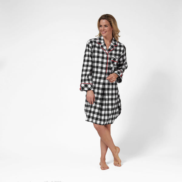 Rocky Mountain Flannel Knee-Length Flannel Nightshirt with Loon Logo in Large Buffalo Check Front View