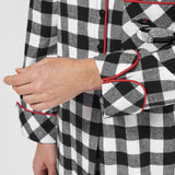 Rocky Mountain Flannel Knee-Length Flannel Nightshirt with Loon Logo in Large Buffalo Check Cuff Sleeve View