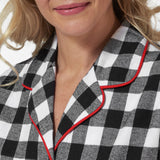 Rocky Mountain Flannel Knee-Length Flannel Nightshirt with Loon Logo in Large Buffalo Check Neckline View
