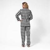 Rocky Mountain Flannel Classic 2 Pc Flannel Pyjamas with Bear Logo in Large Buffalo Check Back View