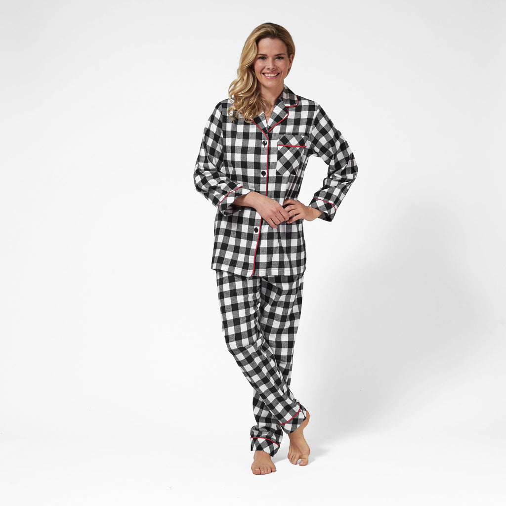 Rocky Mountain Flannel Classic 2 Pc Flannel Pyjamas in Large Buffalo Check Front View