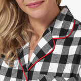 Rocky Mountain Flannel Classic 2 Pc Flannel Pyjamas with Loon Logo in Large Buffalo Check Neckline View