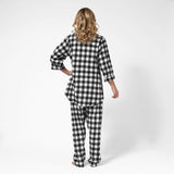 Rocky Mountain Flannel Easy Fit 2 Pc. Flannel Pyjamas with Bear Logo in Large Buffalo Check Back View