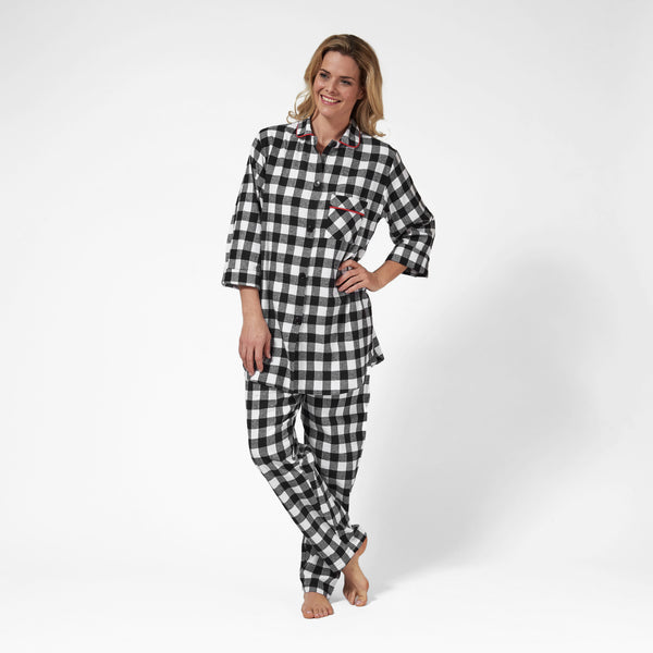 Rocky Mountain Flannel Easy Fit 2 Pc. Flannel Pyjamas in Large Buffalo Check Front View